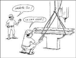 Le travailleur prend le temps de vérifier la position des élingues avant de soulever la charge.