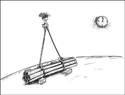 La charge est déposée au sol sur des cales.