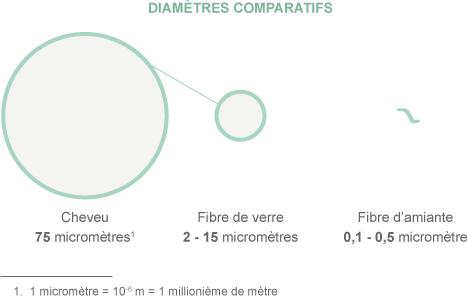 La taille des fibres d'amiante comparée à celle d'un cheveu et d'une fibre de verre